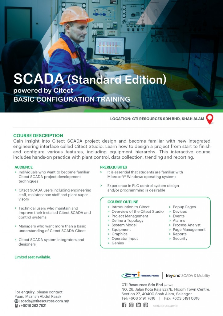 Scada (Standard Edition) powered by Citect 3-Day Training